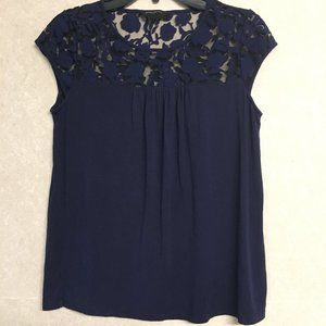 BANANA REPUBLIC Blue Cotton Lace Top Blouse Small